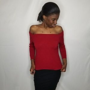 Sweater Project Off The Shoulder Red Top